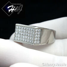 MEN's Stainless Steel Silver 2.55 Carat CZ Iced Out Bling Ring Size 7-12