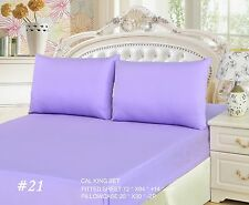 Repack 3 to 2 PC 100% Cotton Lilac Purple Lavender Fitted Sheet Set Twin