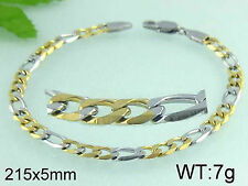 """8 1/2"""" Chain Bracelet - Stainless Steel - Gold or 2 Toned  - BS31"""