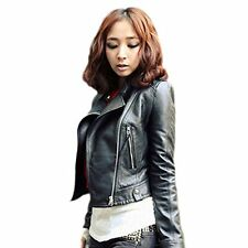Fashion Vintage Women Slim Biker Motorcycle Faux Leather Zipper Jacket Coat