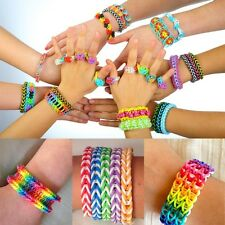 HOT DIY Rainbow Color Bracelet loom refill rubber bands With S-Clips & C-Clips
