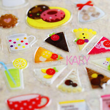 Food Pizza Jam Cookie Dessert Colorful Crystal Phone Scrapbooking Sticker QAA018