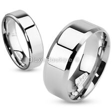 Stainless Steel 316L Beveled Edge Classic Wedding Ring Band Size 5-14