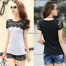 Women Short Sleeve Lace Stitching T-shirt shirt Tops Tee Blouse Casual New ESY1