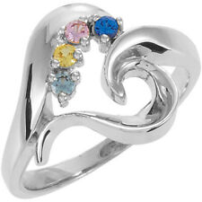 Mother's Jewelry Sterling Silver 1-5 Round Birthstones Mothers Ring, Moms gift