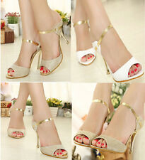 Womens Sexy shoes Buckle Open Toe Pumps Stiletto Mid High Heel Slipper Sandals