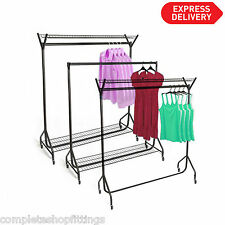 HEAVY DUTY CLOTHES GARMENT RAIL WITH TOP AND BOTTOM SHELF STAND RACK METAL 4 FT
