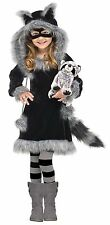 Girls Raccoon Costume Childs Faux Fur Fancy Dress Hooded Childrens Toddler Kids