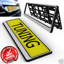 A PAIR OF STYLISH SILVER CAR Number Plate  Holder SURROUND Frame SPORT tuning