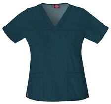 Dickies Scrubs 817455 V Neck Scrub Top Dickies Youtility Jr Fit Caribbean Blue