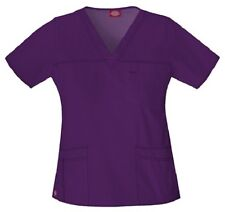 Dickies Scrubs 817455 V Neck Scrub Top Dickies Youtility Jr Fit Eggplant