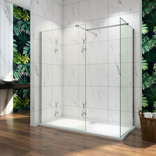 Walk in Tall Shower Enclosure 8mm Glass Screen Cubicle Side Panel Stone Tray V2