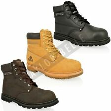 MENS STEEL TOE CAP WORK BOOTS SAFTEY LEATHER LACE UP ANKLE SHOES SIZE 7-11