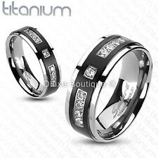 Solid Titanium Two-Tone Black IP Center Simulated Diamond Wedding Band Size 5-13