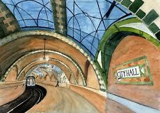 City Hall 1904 Subway Station New York City Matted Watercolor Art Prints