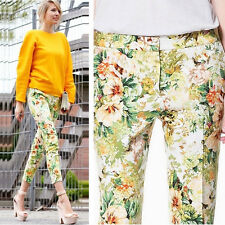 BLOGGERS! POPULAR! NEW TROPICAL Floral Print Cropped Slim Trousers Pencil Pants