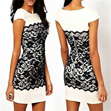 New Celeb Womens Ladies Bodycon Pencil Black Lace Cocktail Evening Party Dress