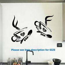 2 Coffee Cups KITCHEN WALL STICKERS Cafe Vinyl Art Decals Home Decor DIY