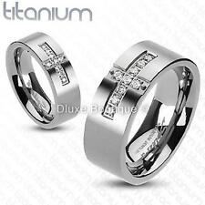 Solid Titanium Holy Cross AAA CZ Shiny Religious Fashion Ring Band Size 5-13