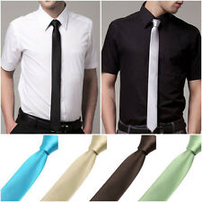 HOT Mens Classic Solid Plain Slim Skinny Tie Necktie Wedding Cocktail 40 Color
