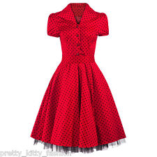 PRETTY KITTY 50s RED COCKTAIL POLKA DOTS VINTAGE TEA SWING PROM PARTY DRESS 8-26