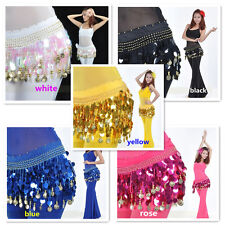 88pcs Belly Dance Hip Scarf Waistband Belt Skirt GOLD Coins Chiffon Sequins