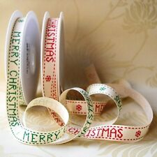 MERRY CHRISTMAS RIBBON 15mm COTTON TWILL NATURAL TEXTURE FULL ROLL - SHABBY CHIC