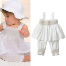 Hot New 3pcs Baby Girl Kid Ruffle Top+Pants+Hat Outfit Clothes 0-24M Vest Pants