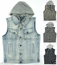 KAYDEN.K Men's Wash Denim Vest Jacket with Removable Hood