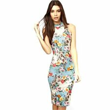 Sale! Retro Lady Floral Print Sleeveless Bodycon Cheongsam Pencil Slim Dress -H