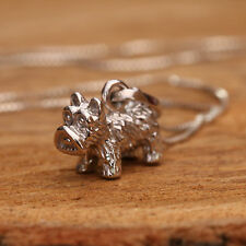 925 Sterling Silver Handcrafted 3D Scottie Dog Pendant Chain Necklace w Gift Box