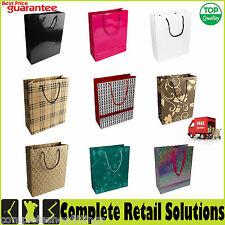 NEW PAPER BAGS WITH HANDLE PRINTED CARRIER BAG KRAFT SOS FOOD LUNCH PARTY BAGS
