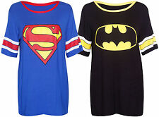Ladies Womens Superman Batman Converse Print Short Sleeve Baseball T-Shirt Tops