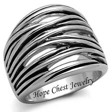 WOMEN'S SILVER TONE MODERN DESIGN WIDE BAND DOME FASHION RING SIZE 5 -10