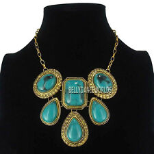 GOLDEN CHAIN VINTAGE RETRO STYLE WATER DROP DANGLE PENDANT BIB FASHION NECKLACE