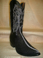 New Mens Team West Embossed Stingray Black Leather Cowboy Boots Western Wear