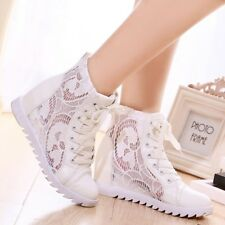 Fashion Women's Net Lace Up Round Toes Wedge Inside Summer Causal Shoes White
