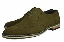 NEW MENS CASUAL FORMAL GREEN SUEDE  LACE UP BROGUES SHOES UK6-11