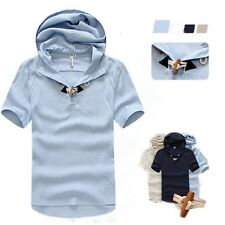 Men's Solid Color T-shirts Casual Short Sleeve Hooded Shirts Tee Oxhorn Button