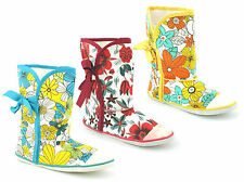 LADIES WOMENS GIRL NEW CANVAS FLORAL TIE UP ANKLE SUGAR BOOTS PUMPS SHOES SIZE