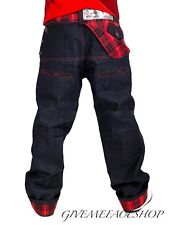 Dirty Money Pants Jeans Time Is Red Check Urban Denim Branded Designer Loose