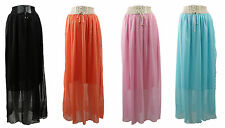 Ladies Women Vintage Retro Chiffon Pleated Long Elastic Waist Maxi Dress Skirt
