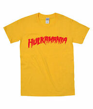 MENS HULKAMANIA T SHIRT WWE WWF FANCY DRESS COSTUME HULK HOGAN TSHIRT Birthday