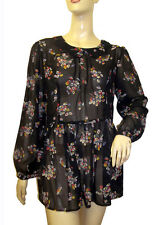 LADIES FLORAL PRINT CHIFFON BLOUSE/TUNIC/TOP UK SIZES 8, 10, 12
