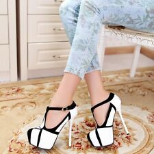 New Women's Round Toes Platform Stiletto High Heel Ankle Strap Dress Sexy Shoes