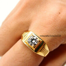 Men Jewelry 24K Yellow Gold Filled Glint Crystal Rings R46 10#-12#