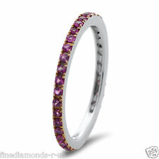 0.60ct Pink Sapphire Full Eternity Wedding Ring in Solid White & Yellow Gold