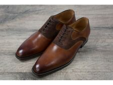 Magnanni Brown Burnished Leather & Suede Oxford Shoes