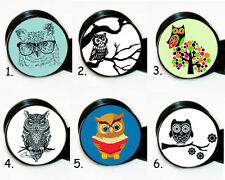 Select 1 pair Owl ear gauges tunnel screw back plugs