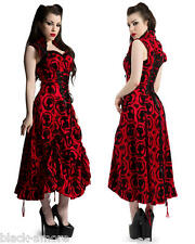 VICTORIAN STEAMPUNK LONG DRESS BLACK RED CAMEO GOTH LAYERED GOWN EDWARDIAN NEW